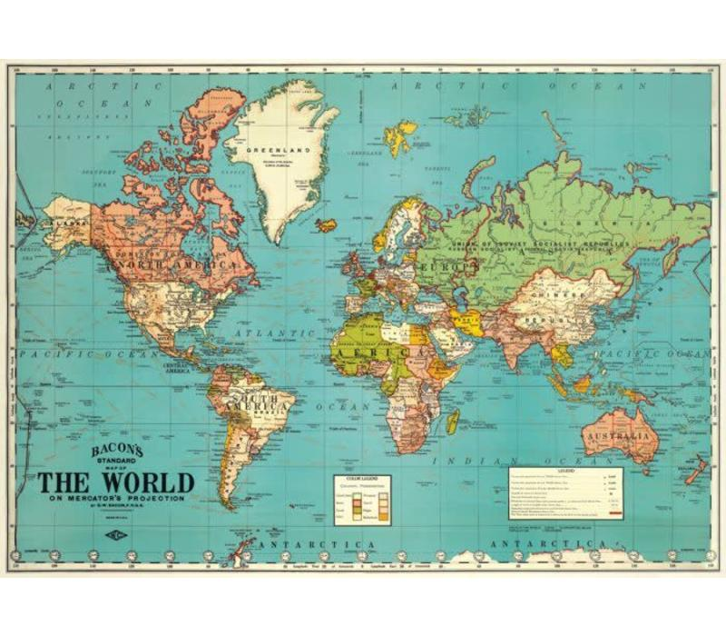 Cavallini - World Map 2 - Wrap/Poster