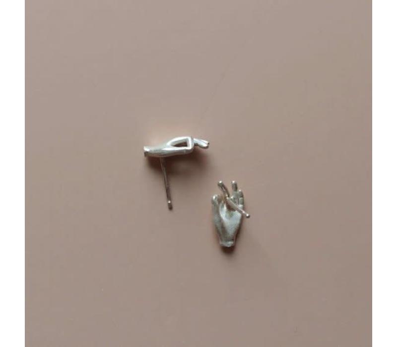 Ame Jewels - Gyan Mudra Hands - Silver Earrings