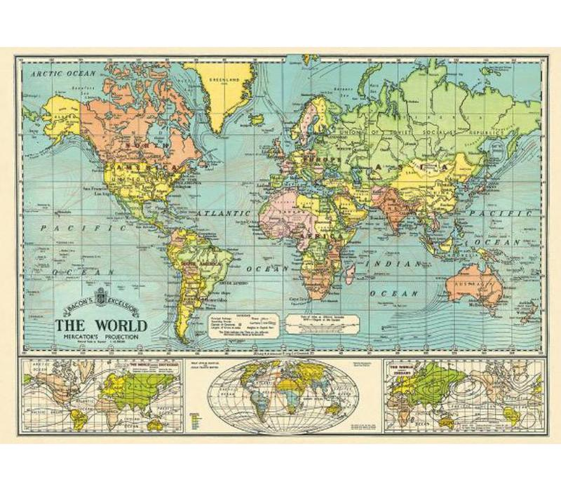 Cavallini Cavallini World Map WrapPoster Grey Street - Grey world map poster