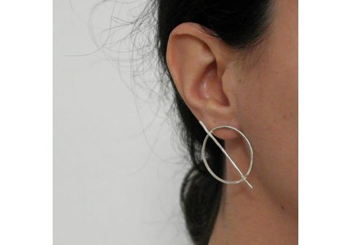 Âme Âme Jewels - Big Circle and Bar Earrings - Silver