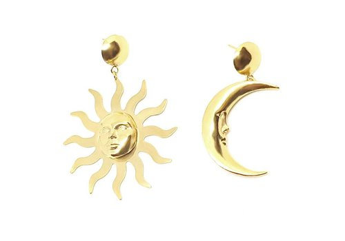 Xtellar Xtellar - Moon & Sun Earrings - Gold Plated Brass