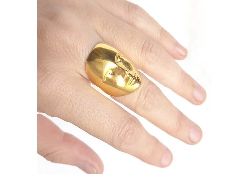 Xtellar Xtellar - Face Ring - Gold plated silver