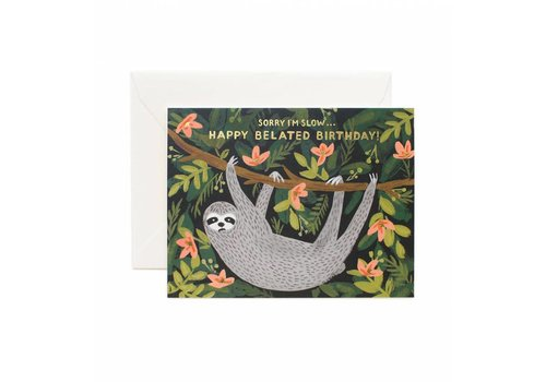 Rifle Paper Rifle Paper - Sloth Belated Birthday - Greeting Card
