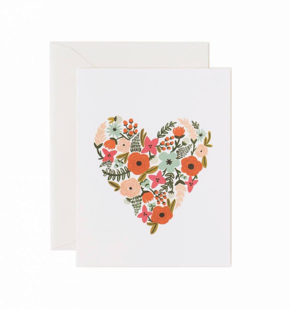 Rifle paper co floral heart greeting card grey street floral heart greeting card m4hsunfo
