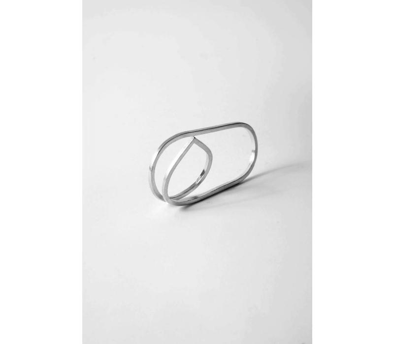 Naida C. Castel - Angle Double Ring Silver