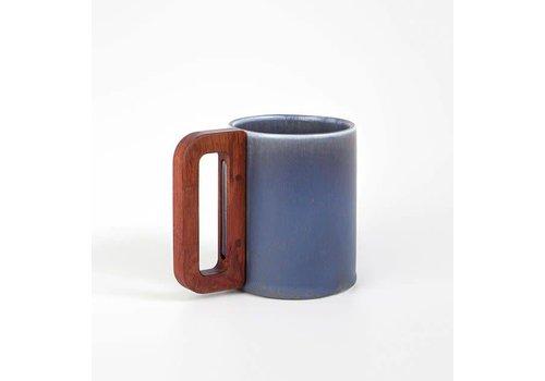 Matimanana Matimañana - Stone Blue Mug with Wooden Handle