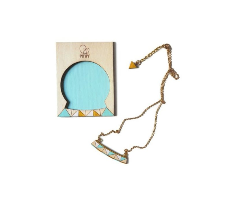 Pithy - Tess Turquoise Triangle - Necklace