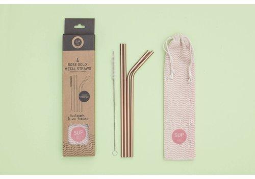 SUP - Stop Using Plastic SUP - Rose Gold Metal Straws 4pk