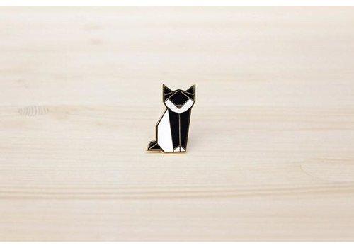 Hug a Porcupine Hug a Porcupine - Origami Cat Brooch Black