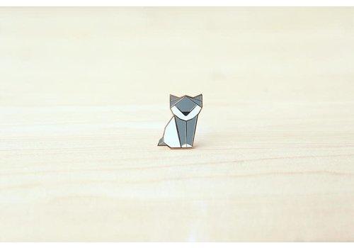 Hug a Porcupine Hug a Porcupine - Origami Kitten Brooch Grey