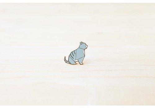 Hug a Porcupine Hug a Porcupine - Origami Tabby Cat Brooch Grey