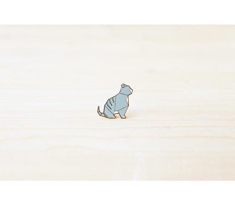 Hug a Porcupine - Origami Tabby Cat Brooch Grey