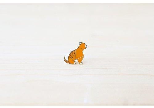 Hug a Porcupine Hug a Porcupine - Origami Tabby Cat Brooch Orange