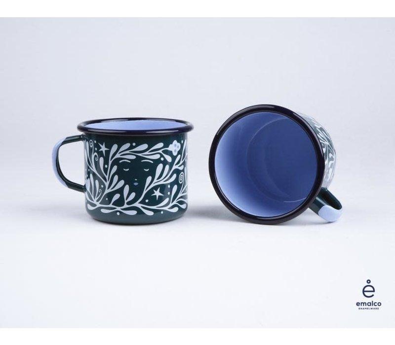 Lisa Junius - Green Man and Luna - Enamel Mug