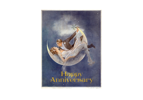 Laughing Elephant Laughing Elephant - 1920's Couple In Crescent Moon - Greeting Card