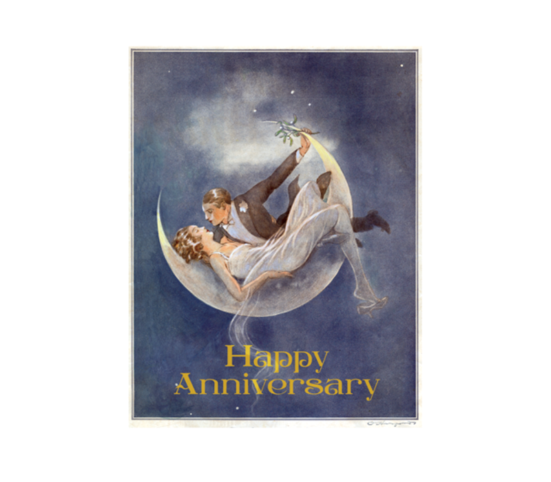 Laughing Elephant - 1920's Couple In Crescent Moon - Greeting Card