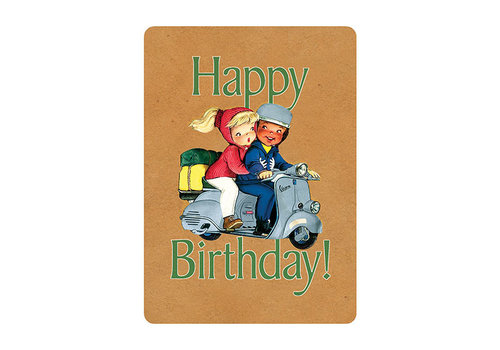 Laughing Elephant Laughing Elephant - Boy and Girl on Scooter - Greeting Card