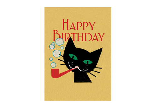 Laughing Elephant Laughing Elephant - Cat With Pipe - Greeting Card