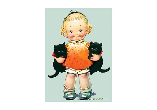 Laughing Elephant Laughing Elephant - Little Girl With Kittens - Greeting Card