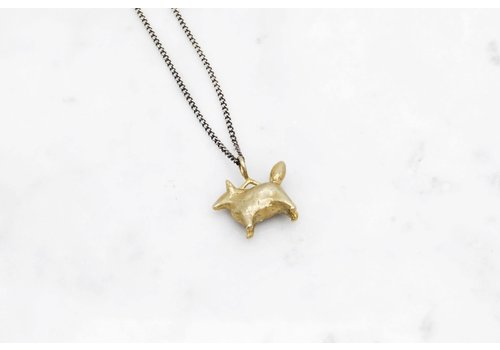 Datter Industries Datter Industries - Dog Amulet Necklace - Brass on Silver