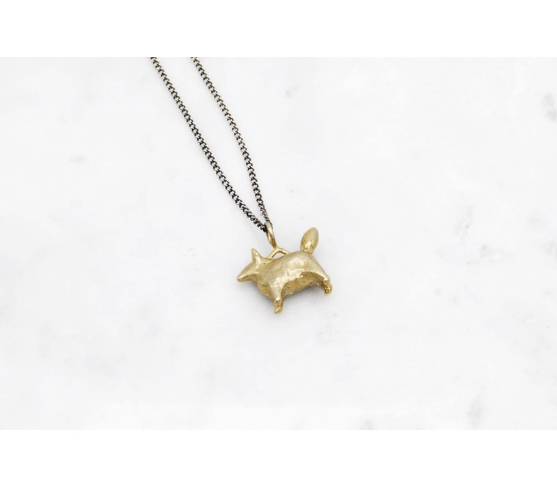Datter Industries - Dog Amulet Necklace - Brass on Silver