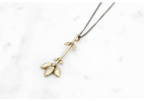 Datter Industries Datter Industries - Flower Stem Necklace - Brass on Silver