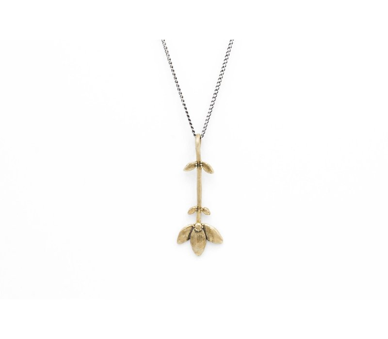 Datter Industries - Flower Stem Necklace - Brass on Silver