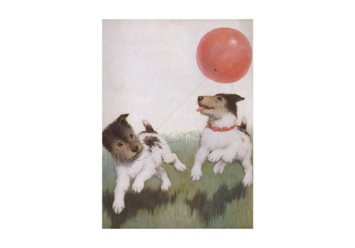 Laughing Elephant Laughing Elephant - Running Dogs With A Balloon - Greeting Card