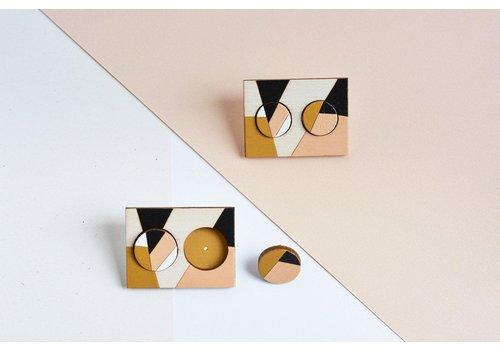 Pithy Pithy - Hoops - Earrings Black/Gold/White Medium 1.5cm