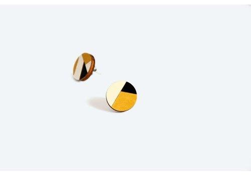 Pithy Pithy - Geometry Earrings - N4 Black/White/Gold  1.5cm