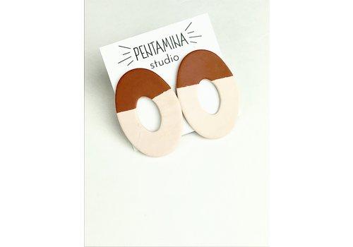 Pentamina Pentamina - Big Oval Earrings - Peach/Terracotta
