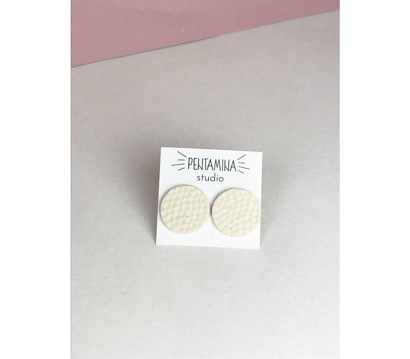Pentamina - Dot Ivory Earrings - White