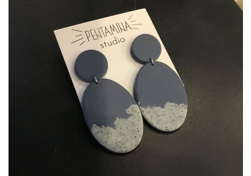 Pentamina Pentamina - Falling Oval Earrings - Blue Granite