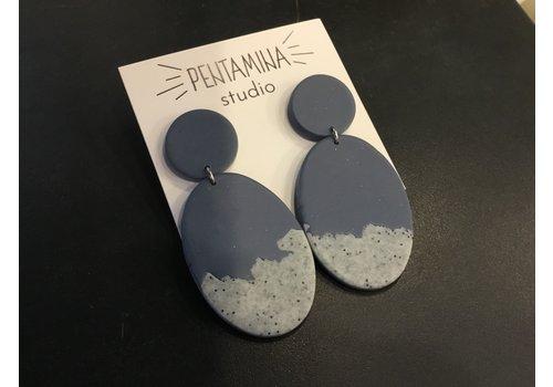 Pentamina Pentamina Studio - Falling Oval Earrings - Blue Granite