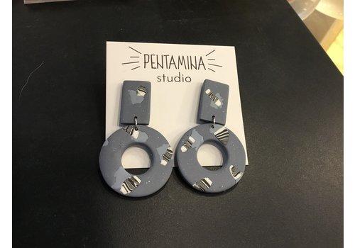 Pentamina Pentamina - Geo II Earrings  - Blue Patterned
