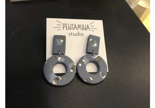 Pentamina Pentamina Studio - Geo II Earrings  - Blue Patterned