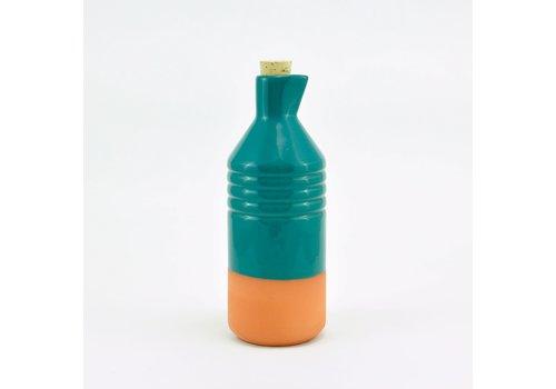 Casa Atlántica Casa Atlántica - Botella de Barro Vidriada Color Azul Celeste