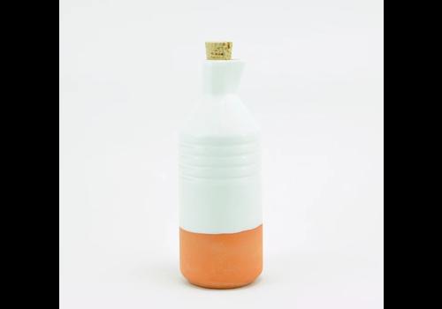 Casa Atlántica Casa Atlántica - Botella de Barro Vidriada Color Blanco