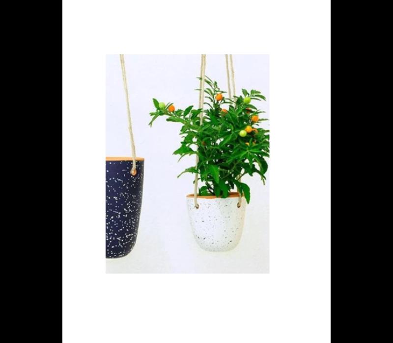 Casa Atlántica - Alvito S - White Pot with Green Drops
