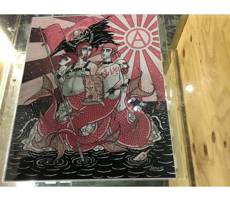 Rapha Hu - Mermen  - A4 Print