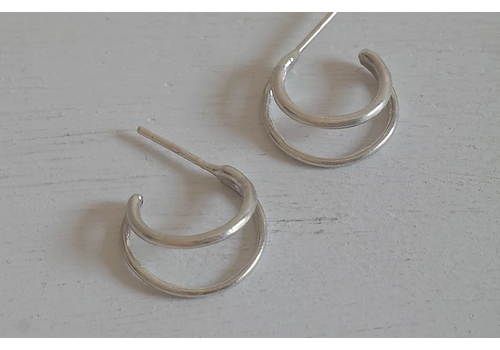 Âme âme - Double Hoop - Silver Earrings