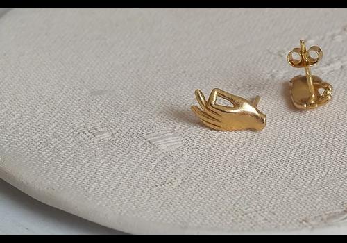 Âme Ame Jewels - Gyan Mudra Hand - Gold Earrings
