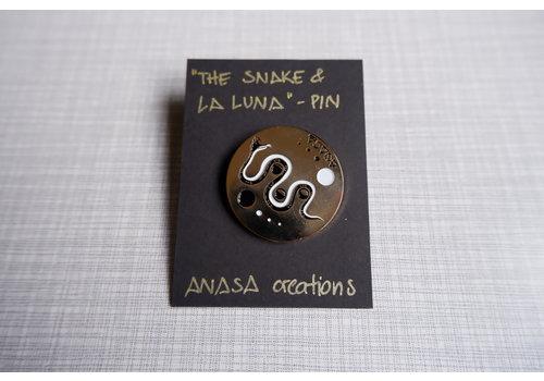 Anasa Anasa - Snake & La Luna - Lapel Pin