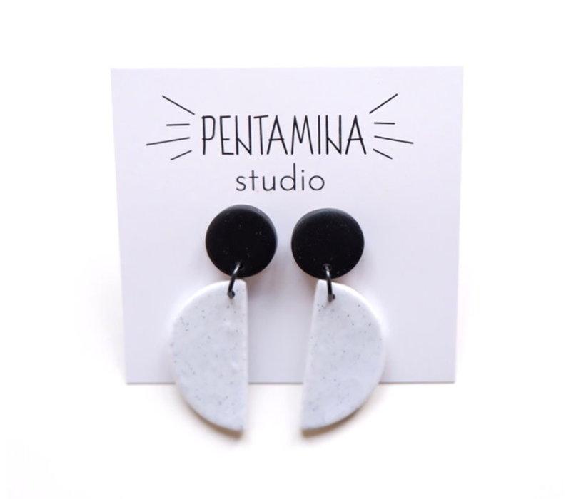 Pentamina - Falling Semicircle Earrings - Black and White