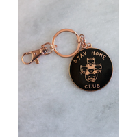 Stay Home Club - Black and Gold - Keychain