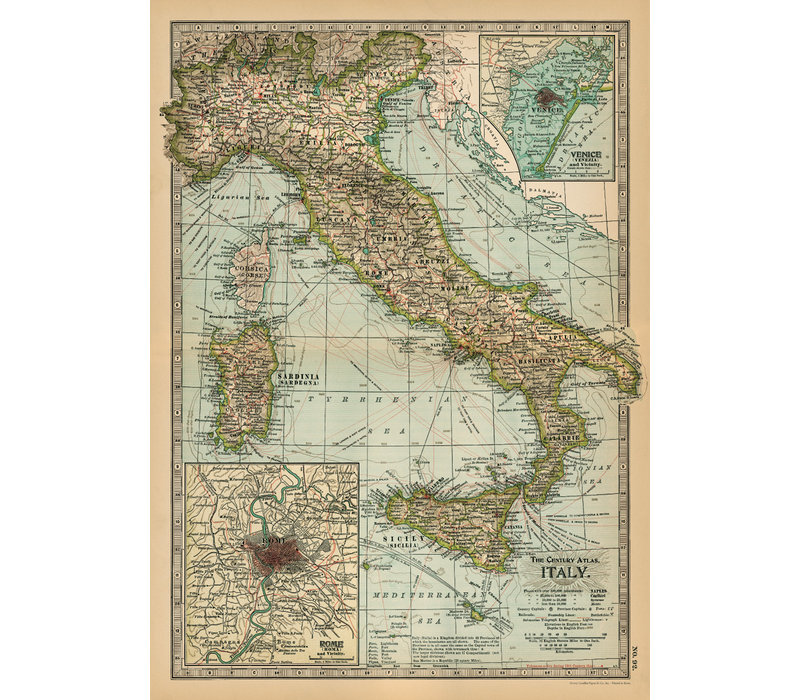 Cavallini - Italy Map  - Wrap/Poster