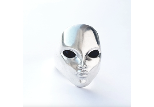 Xtellar Xtellar - Anillo Alien con ojos de ónix - Plata