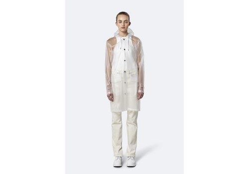 Rains Rains - Transparent Hooded Coat - Foggy White - XS/S