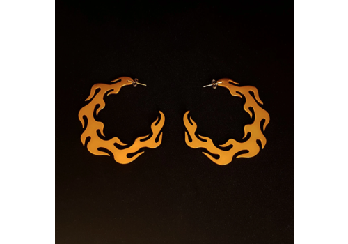 Xtellar Xtellar - Flame Earrings - Gold Aluminium