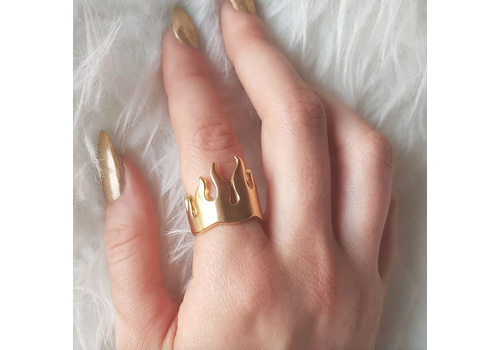 Xtellar Xtellar - Golden Fire Ring - Gold Plated Silver